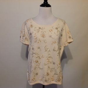 Talbots Sweater Womens Large Petite Embroidered